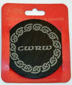 "Single Welsh Slate Coaster ""CWRW"" in Celtic Ring, WALES/CYMRU"