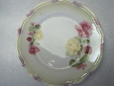 "VINTAGE PK SILESIA PORCELAIN ROSE PATTERN 61/4"" ROUND SERVING PLATE with BEADING"