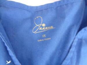 Navy Blue Women's Sz 1X Jaanuu Zip front- tulip hem Scrub Top ONLY
