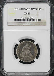 1853 Seated Liberty Silver Quarter Arrows and Rays NGC XF-45