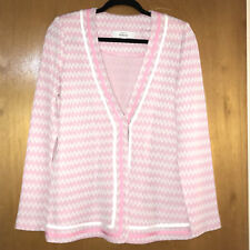 Exclusively Misook Womens Cardigan S Zig Zag Knit Jacket Stretch Pink White Gray