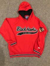 Vintage Chicago Blackhawks Starter Script Hoodie Sweatshirt Pullover Red 90s NHL