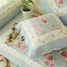Shabby Chic French Country Cottage Floral Blue Throw Pillow Cushion Cover D