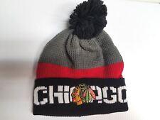 Chciago Blackhawks Reebok Knit Hat 2016 NHL Center Ice Pom Beanie Stocking Cap