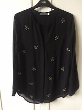 Mint Velvet Top Blouse Tunic Black Crystal Bee Size 10