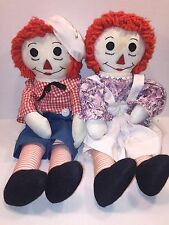 Vintage Hand Made Raggedy Ann and Andy Dolls Pair Handmade Cloth Doll Set