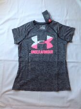 Girls Under Armour HG Loose Fit Short Sleeve Polyester Tshirt Black Pink MED NWT