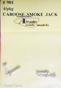 Alexander Scale Models #901 Caboose Smoke Jack, 4pcs (Light Cast Metal)