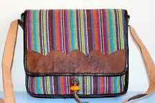 Recycled Handmade organic cotton w Leather framed multi-color shoulder bag