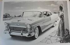 """1955 Chevrolet 2 door hardtop front 3/4 view 12 X 18"""" Black & White Picture"""