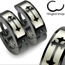 Pair 316L Stainless Steel Black Medieval Cross Huggie Cuff Hoop Earrings (012)
