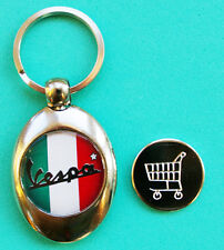 Italian Flag Vespa Shopping Trolley Token Key Ring Silver Plated New ,