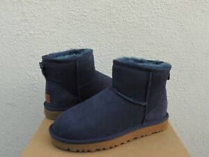 UGG CLASSIC MINI II NAVY BLUE WATER-RESISTANT SUEDE BOOTS, US 8/ EUR 39 ~NIB
