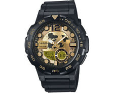 AEQ-100BW-9A Gold Black Casio Men's Watches Chronograph Battery AE-Q100BW New