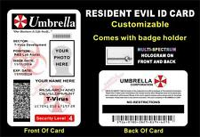 RESIDENT EVIL ID Badge / Card  CUSTOM W/ YOUR PHOTO & INFO  UMBRELLA CORP - PVC
