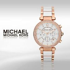 NEW MICHAEL KORS MK5774 WHITE ROSE GOLD 'PARKER' CHRONOGRAPH WOMEN'S WATCH