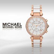 "Nuevo MK5774 Oro Rosa Blanca MICHAEL KORS ""Parker"" Cronógrafo Reloj De Mujer"