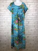 Women's Bright Blue Mumu Caftan Tropical Floral Cotton House Dress One Size