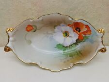 Antique Nippon Porcelain Hand Painted Artist Signed Relish Dish Bowl POPPIES Exl