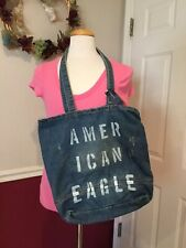 American Eagle Outfitters NEW Denim Tote Shoulder Bag Purse Distressed MSRP $40