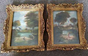 Italian Dipinto Original Oil Paintings framed X2