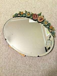 """Beautiful 1930's English  """"BARBOLA""""  Oval Table Mirror"""