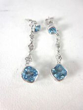 STERLING SILVER WOMEN'S SWISS BLUE TOPAZ, WHITE SAPPHIRE FASHION EARRINGS