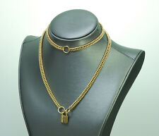 Vintage Hermes 18K Yellow Gold Padlock Chain Necklace/Bracelet