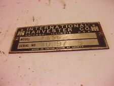 1969 International Farmall 656 tractor Original IH Serial Number tag #40997