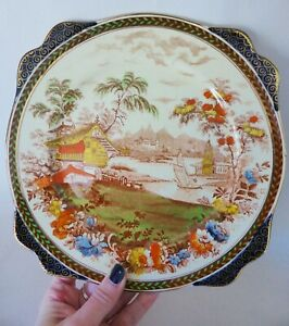 Antique Royal Staffordshire Plate with Display Hanger, 1910 Hand Painted Ceramic