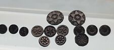 More details for victorian french jet patterned ivy flower horse shoe star mourning buttons