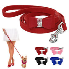 Bling Rhinestone Pet Dog Leash with Cute Bowknot Soft Suede Leather Walking Lead