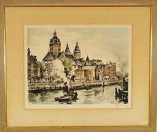 Roger Hebbelinck (Belgian 1912-1987) Original Color Etching Amsterdam
