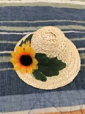 Doll clothes straw hat with flowers