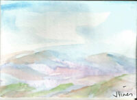 PASTEL MOUNTAINS Original Watercolor Landscape Painting ACEO small ART card mini