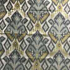 """Home Decor Upholstery Ikat Fabric Remnant 27"""" Square Blue Gray Citrine"""
