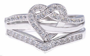 Heart Knot Infinity Celtic Round Love CZ Wedding Engagement Silver Two Ring Set