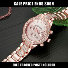GENEVA ROSE GOLD LADIES DESIGNER WATCH Chronograph Style Womens Crystals Bling