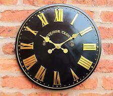Reloj De Pared Para Exterior E Interior Negro Jardín Iglesia Pintado a Mano Reloj 38cm 1064