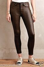 NEW Anthropologie 7 For All Mankind brown Coated High Rise Skinny Jeans 32