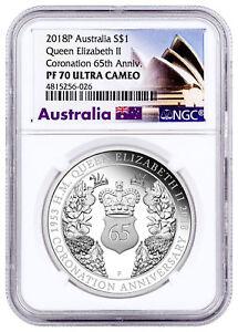 2018-P Australia Elizabeth II Sapphire Coronation 1 oz Silver NGC PF70 SKU53354