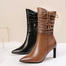 New Women's Pointy Toe Stilettos High Heels Lace up Bowknot Ankle Boots size