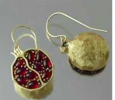 Red ancient Greece Hades God Pomegranate Garnet Earrings Hollow Vintage Gold