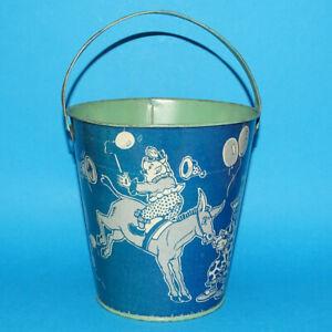Vintage J. Chein Sand Pail Blue White Tin Litho Performing Circus Animal Clowns