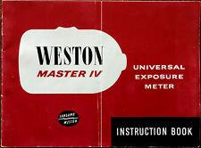 Weston Master IV Universal Exposure Meter Instruction Book 1960's