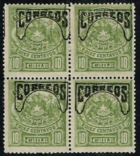 CHILE 1904 OVPD STAMP # 67 MNH/MH BLOCK OF FOUR HUEMUL CON COLA FAUNA