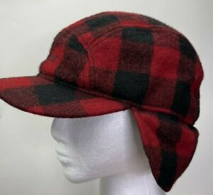 LL Bean Trapper Hat Wool Buffalo Plaid Woodsman Size S/M?