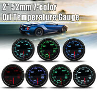 """2"""" 52MM LED DIGITALE TEMPERATURA OLIO MANOMETRO AUTO TUNING 12V 7 COLORE"""