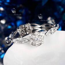 18k white gold gf made with SWAROVSKI crystal rose flower chain bangle bracelet