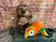 Beautiful sloth and parrot hand puppets immaculate clean condition